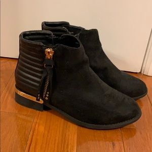 Shoes - Black booties with gold detail